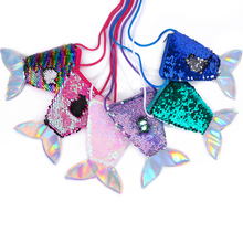 Porte-monnaie en forme de queue de sirène pour femmes et filles, à bandoulière, pochette, cadeaux pour enfants