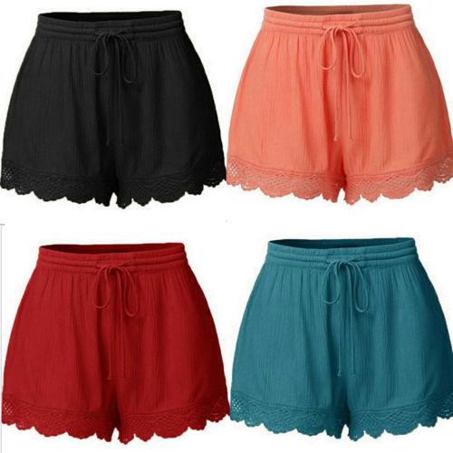 Hirigin Harajuku Sexy Shorts Womens Ladies Elastic Waist Drawstring Lace Hem Shorts Hot Shorts Plus Size