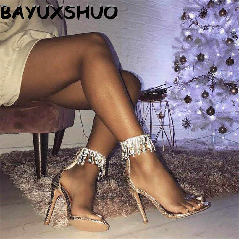 BAYUXSHUO Luxury Rhinestone Tassel High Heel Sandals Women Zipper Stilettos Pumps Thin Sandals Ladies Wedding Party Sexy Shoes