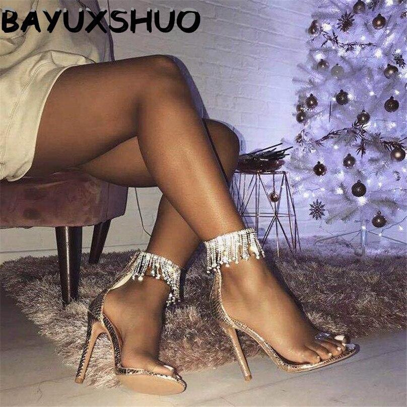 BAYUXSHUO Luxury Rhinestone Tassel High Heel Sandals Women Zipper Stilettos Pumps Thin Sandals Ladies Wedding Party Sexy Shoes