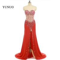 Real Photos Sexy Prom Dresses 2018 With Crystal Sweetheart Red Chiffon Dress A Line High Quality Prom Dress
