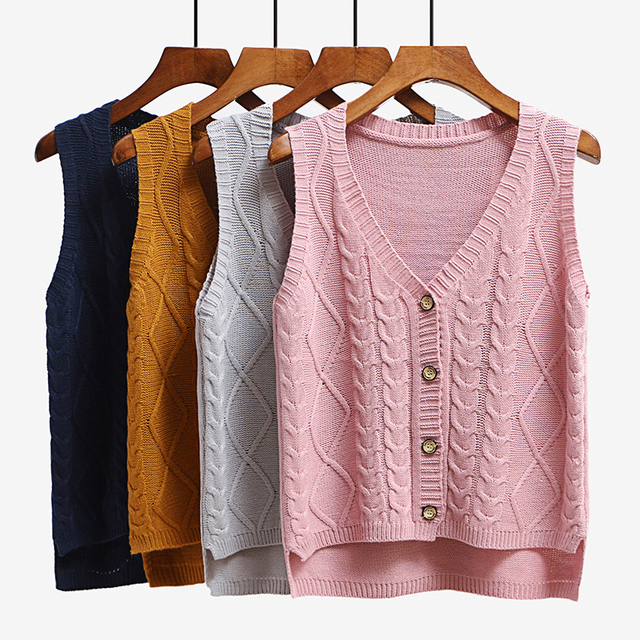 c05040814ea36 Women sleeveless knitting sweater vest pullover Autumn basic waistcoat vest  for women Knitted vests with button