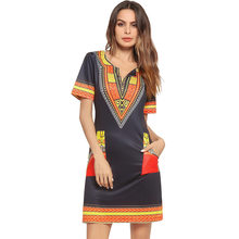 3f57302d18 Cross-border for amazon EBAY2018 Europe and the United States the new V  collar pocket print dress Free Shipping
