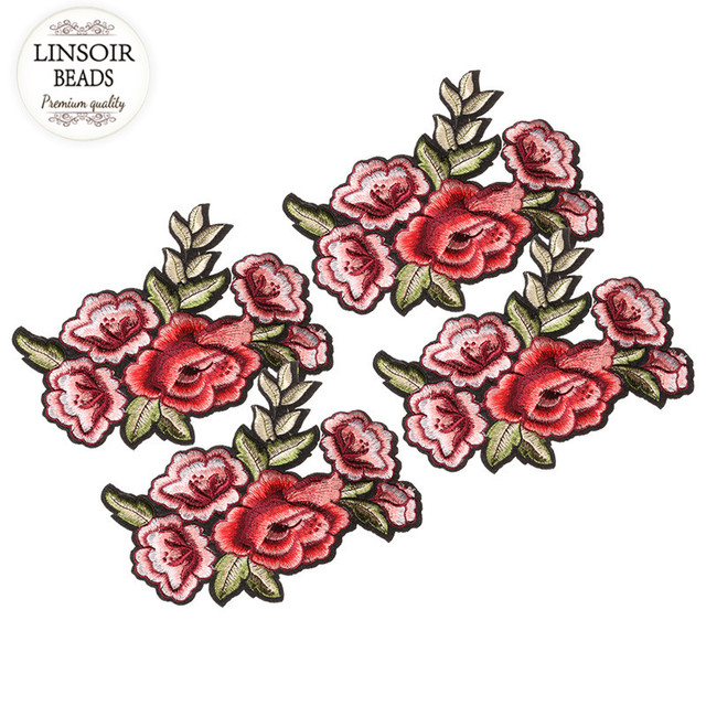 Linsoir 2pcs lot fashion applique embroidery patches rose flower embroidery stickers for hairband collar jewelry