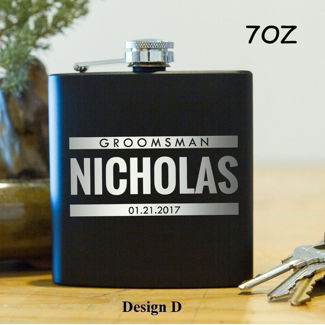 Us 6 38 15 Off Personalized Flasks 7oz Stainless Steel Flask Engraved Classic Gifts Groomsman Gift Wedding Party Gifts Handmade In Hip Flasks