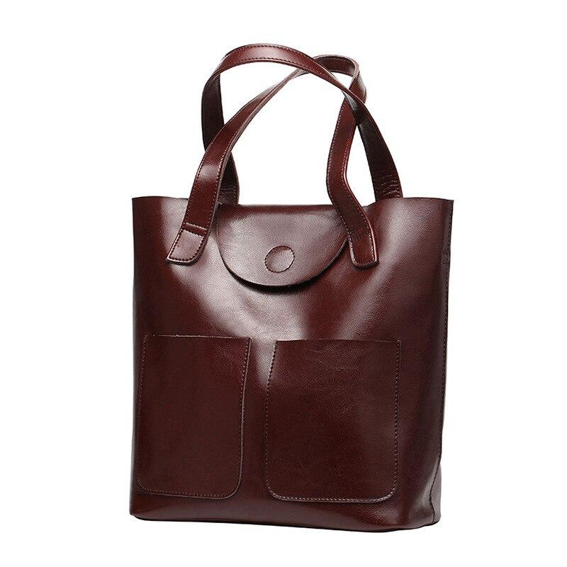 Big Volume Genuine Leather Women Bag Elegant Oil Wax Cowhide Shoulder Bag Vintage Shopping Bag Casual
