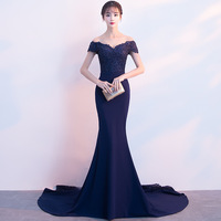 Beauty Emily Lace Navy Blue Evening Dress 2019 Beads Sequined Long Lace Up Formal Party Prom Dress Floor length robe de soiree