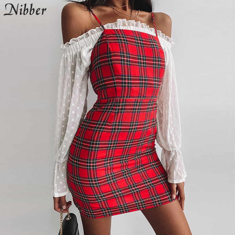 Nibber Ретро красное клетчатое облегающее мини-платье с принтом женское 2019 летнее дикое повседневное вечернее платье модное базовое дамское короткое платье