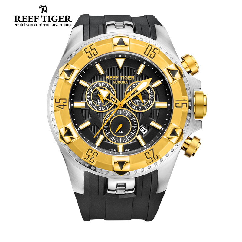 Reef Tiger/RT Men Sports Quartz Watches with Chronograph and Date Big Dial Super Luminous Steel Yellow Gold Stop Watch RGA303 reef tiger brand men s luxury swiss sport watches silicone quartz super grand chronograph super bright watch relogio masculino