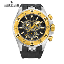 Arrecife Tigre/RT Hombres Deportes Relojes de Cuarzo con Cronógrafo y Fecha Dial Grande Super Luminoso Acero Oro Amarillo de Parada reloj RGA303