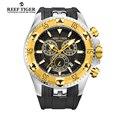 Reef tiger/rt homens sports quartz relógios com cronógrafo e data big dial aço ouro amarelo de super luminosa cronômetro rga303