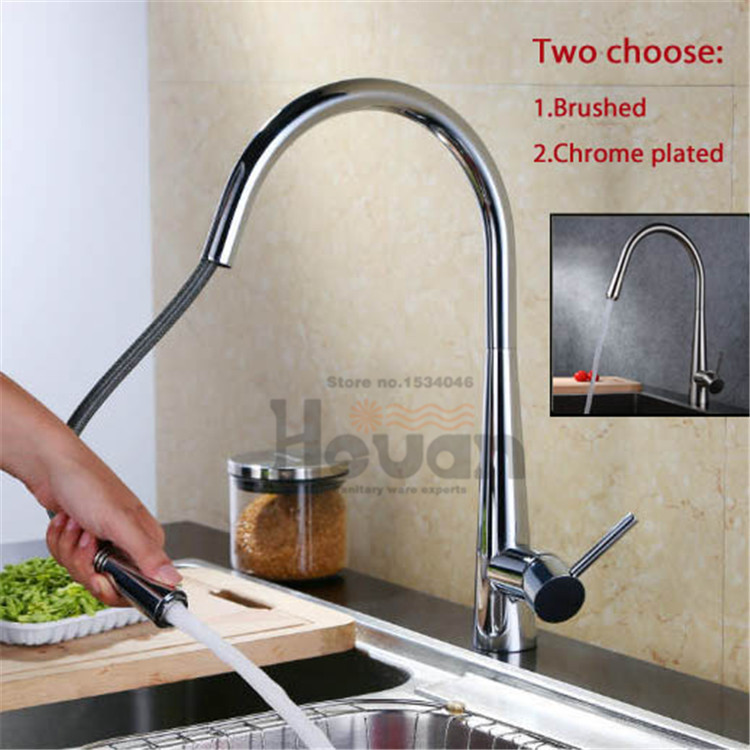 High quality european style brass material kitchen faucet pull out mixer tap hot and cold water sink faucet kitchen chrome plated brass faucet single handle pull out pull down sink mixer hot and cold tap modern design