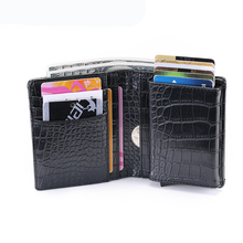 BYCOBECY Men And Women Credit Card Holder RFID Aluminium Business Crazy Horse PU Leather Travel Wallet