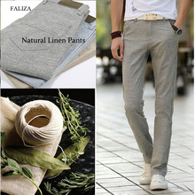 FALIZA Anti-Microbial Healthy Linen Pants Men Spring Summer Stretch Flax Classic Trousers Male Hemp Cotton Casual PA01