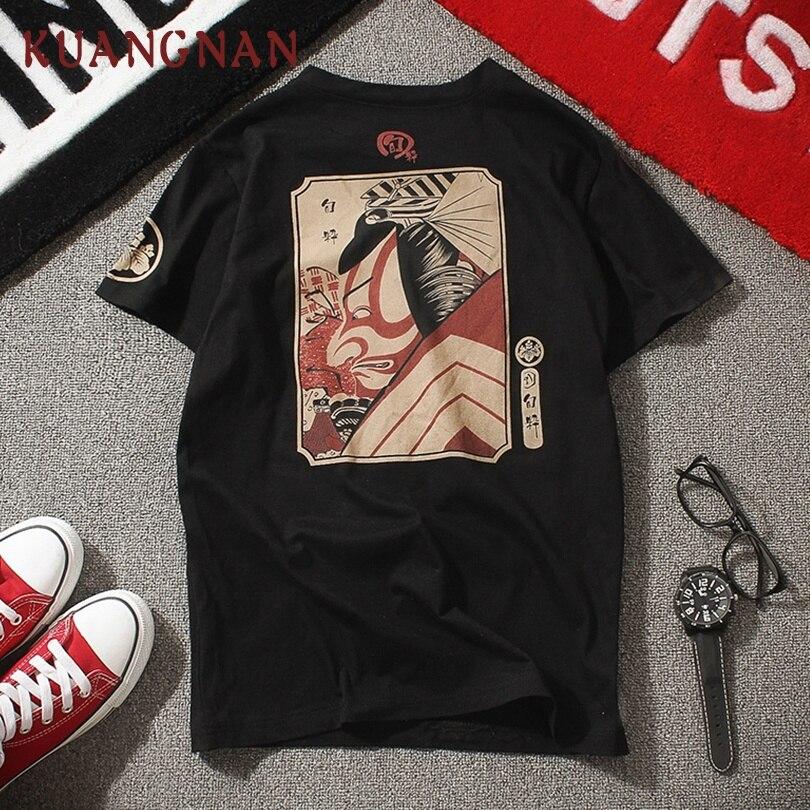 KUANGNAN Samurai Print T Shirt Men Harajuku Tshirt Men White T-Shirt Men Summer Top T Shirts Hip Hop Streetwear 5XL 2019 New