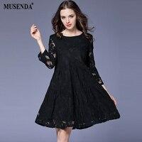 MUSENDA בתוספת שחורה גודל נשים הולו מתוך תחרת שמלת טוניקה קצרה 2018 אביב רירית נקבה הליידי מתוקה שמלות Vestido ביגוד