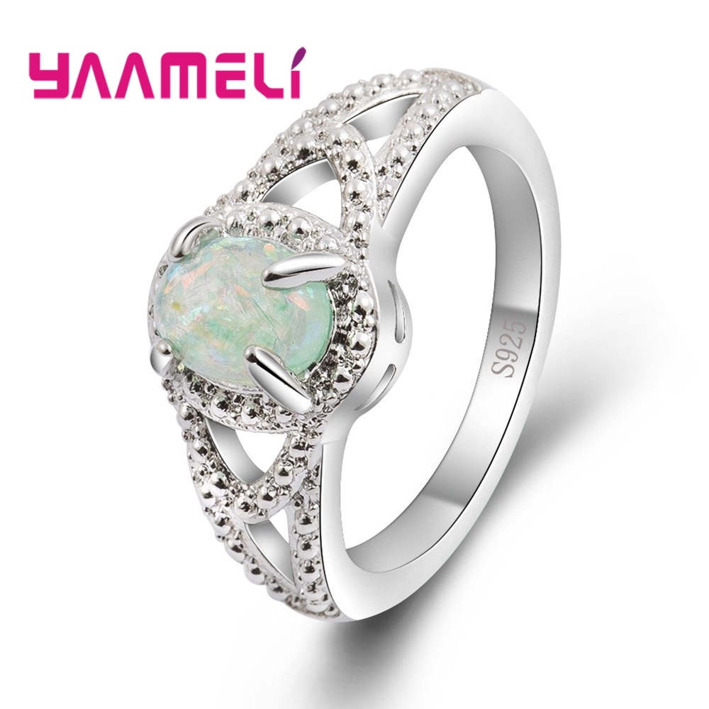 YAAMELI 2018 New Fashion Genuine 925 Sterling Silver Elegant Round Opal For Women Ladies Finger Rings Crystal Jewelry Present
