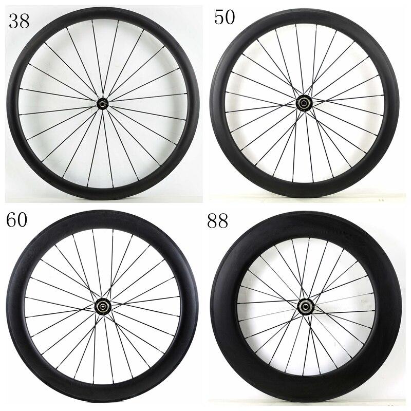 Free shipping 700C 38/50/60/88mm depth road carbon wheels 25mm width Clincher bike carbon fiber wheelset with Powerway R36 hub
