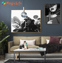 Modern Black And White Pretty Girl Wall Art Childish Canvas Painting Nordic Plant PostersLiving Room Bedroom Decorative Unframed