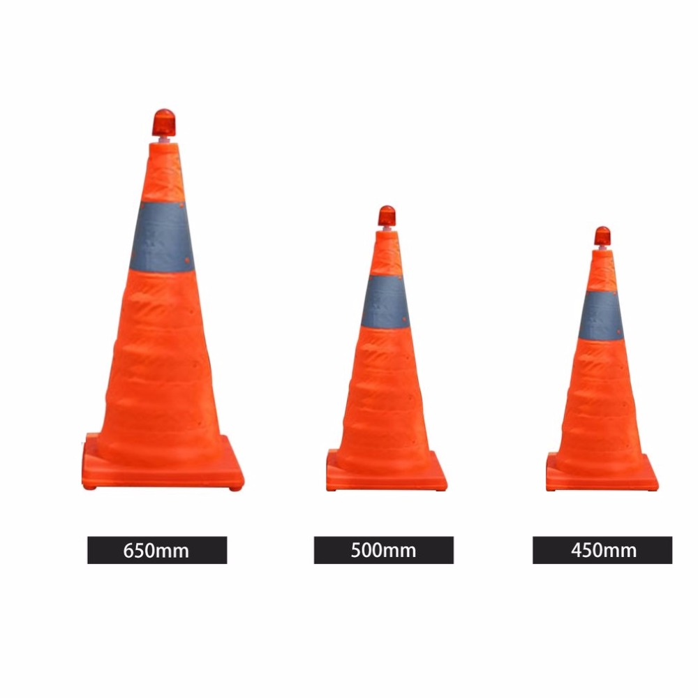 Telescopic Folding Road Cone Barricades Warning Sign Reflective Oxford Traffic Cone Traffic Facilities For Road Safety 500mm