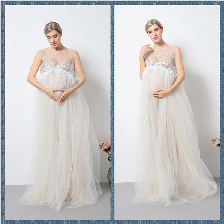 High Quality Maternity Dress for Photo Shoot Ivory Maternity Photography Props Pregnancy Dress for Baby Shower belva 2017 half sleeve maternity dress pregnancy for photo shoot photography props high quality bamboo fiber nursing dress	dr138