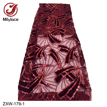 African Red Wine Lace Wedding Dress Luxury Lace Fabric 5YardWith Sequins High Quality Velvet Net Lace Wedding Dress Lace ZXW-179