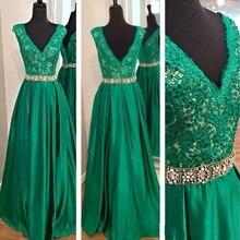 Echt Fotos V-ausschnitt Grüne Formales Abend-kleid Mit Kristall Gürtel Satin Lange Formale Kleider Prom Kleider Mit Applique Spitze Rock