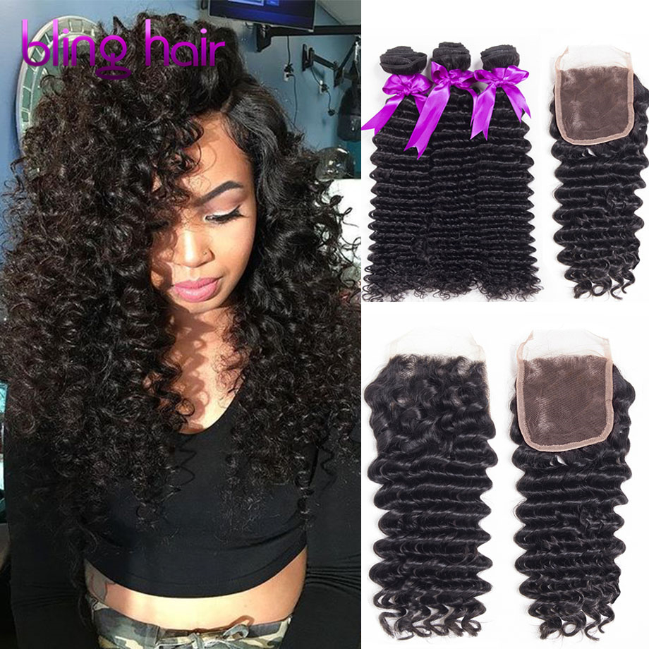 4 Bundles 7A Peruvian Human Hair Deep Wave With Lace Closure Free/2/3 Part Closure With Wet And Wavy Peruvian Virgin Hair Weave