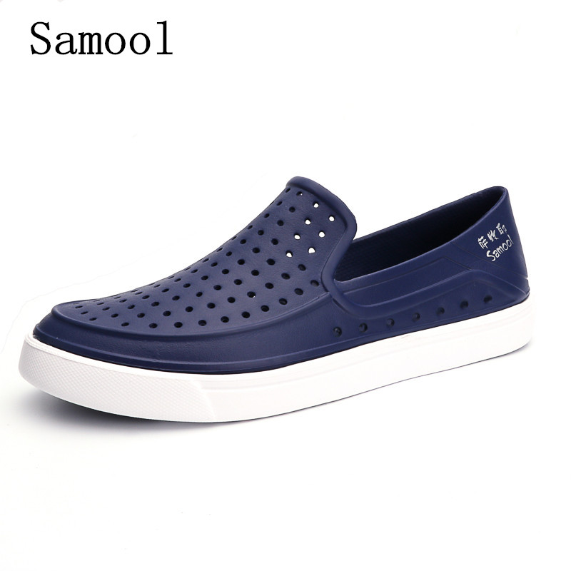 feeee32271fe Casual Native summer man sandals Hollow Outdoor Jelly Garden Breathable  hole cutout Slip On male cool Flat solid Shoes for men