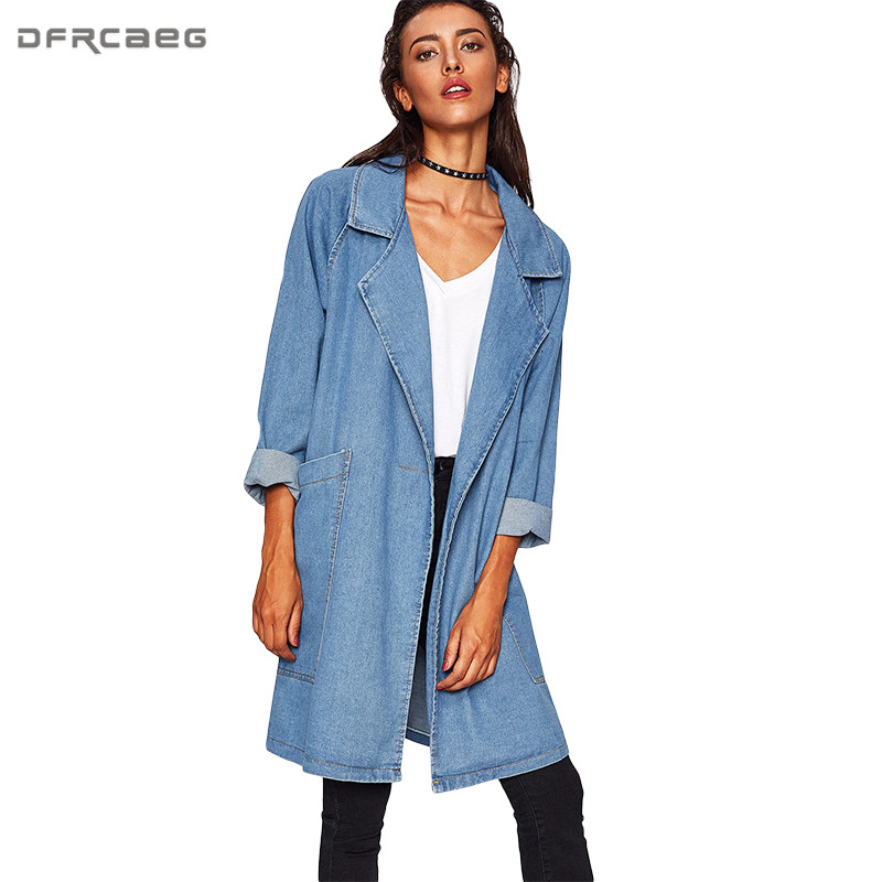 Hot Casual Solid Plus Size Autumn Spring Denim   Trench   Coat Women 2018 Big Pockets Turn-down Collar Manteau Femme Jeans Outerwear