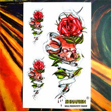 Rose of Death Temporary Tattoo Body Art Flash Tattoo Sticker, 12*20cm Waterproof Henna Tatoo Summer Style Adult Sex Products