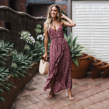 купить Women Dress Sexy Deep V Neck Loose Camis Sleeveless Maxi Dress Polka Dot Elegant Casual Dresses Lady Summer Party Beachwear D30 по цене 904.67 рублей