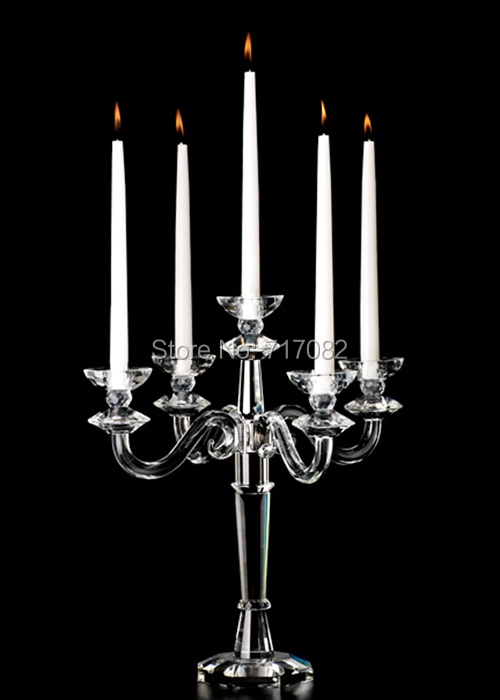 Free shipping 48cm height crystal candelabra centerpieces wholesale