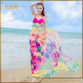 2016 mujeres de moda Summer Beach Dress Bikini Swimwear Cover Up Floral Sarong de seda Sexy Wrap Pareo