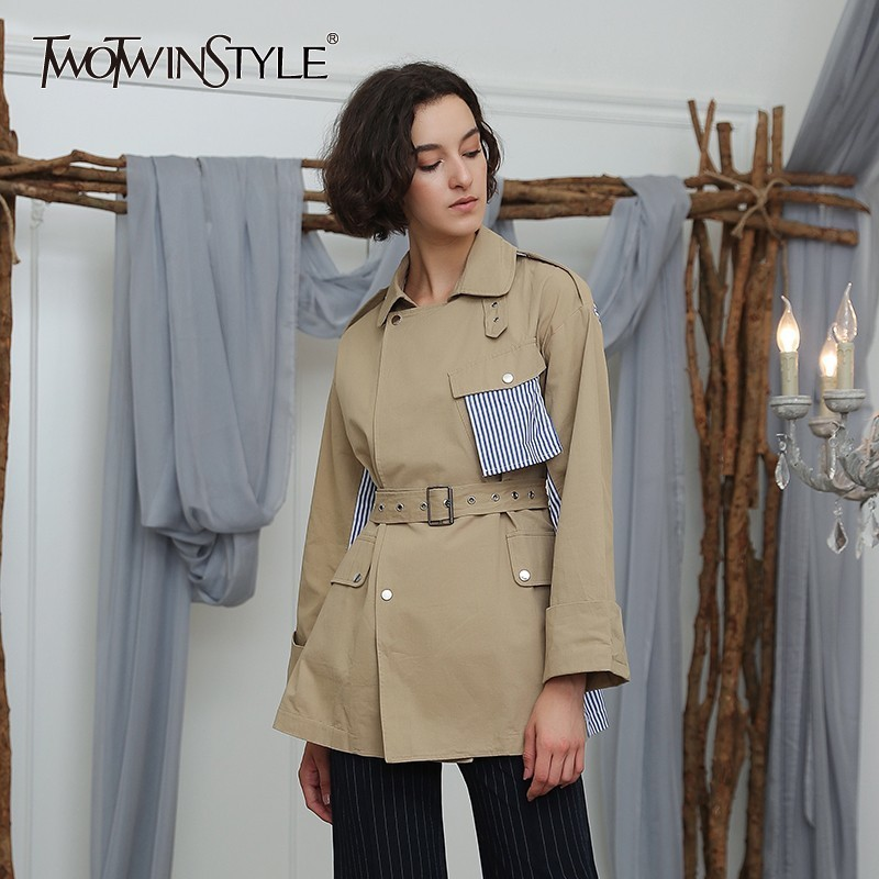 TWOTWINSTYLE Patchwork Striped Windbreaker Tops Women Long Sleeve Lace up Trench Coat Female Autumn 2018 Fashion Casual Clothes