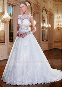Image 2 - Alluring Tulle Bateau Neckline See through A line Wedding Dresses With Beaded Lace Appliques Long Sleeves Bridal Gowns