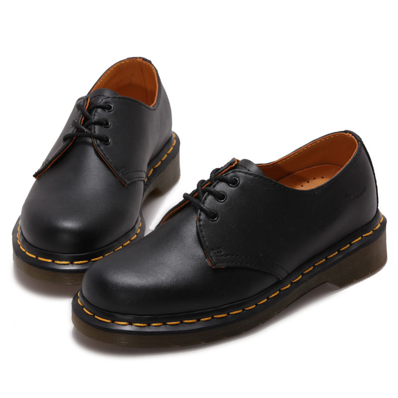 ФОТО Fashion Black Leather Boots Shoes Women New Motorcycle Ankle Martin Boot Lace Up Spring Shoes Formal Unisex Footwear