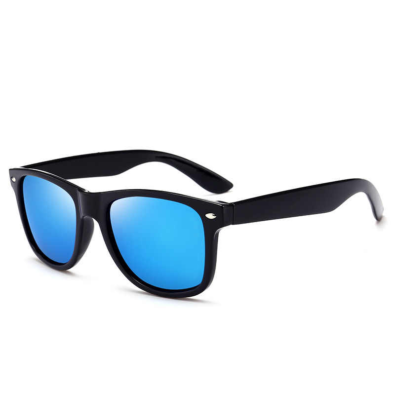 d0f979129ec9 ... [EL Malus]Polarized Square Frame Sunglasses Men Male Night Vision Gray  Silver Blue Lens ...