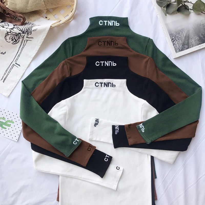 fashion Letter embroidery Turtleneck Basic T Shirt Women Long Sleeve Tee Shirt Harajuku Casual Solid Tees For Female Autumn Tops