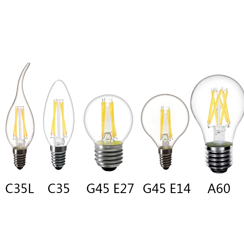 220v 240v Led Lamp A60 C35 G45 Filament Light Led E14 Candle Bulb E27 Cob Led Filament Light Decoration Lamp 360 Degree Led Bulbs & Tubes
