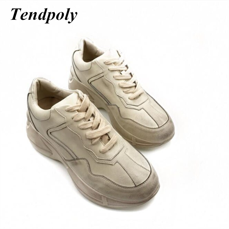 The new simple retro fashion women's shoes 2018 spring and autumn really thick leather shoes selling wild paragraph casual white z suo men s shoes the new spring and autumn ankle leather casual shoes fashion retro rubber sole lace mens shoes zsgty16066