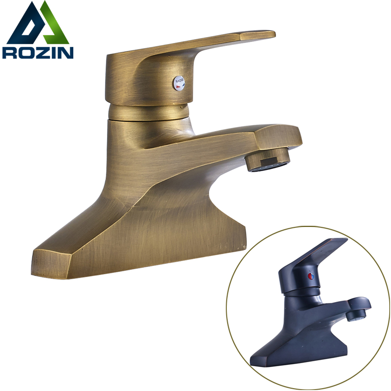 Deck Mounted Dual Hole Bathroom Sink Faucet Single Handle Brass Washing Basin Mixer Taps antique brass bathroom basin faucet dual cross handles single hole deck mounted vessel sink gooseneck mixer taps wnf006
