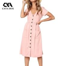 ФОТО 2018 summer women button up midi dress v neck short sleeve women clothings linen dress pocket femme vestidos