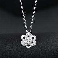 925 sterling silber kristall rose blume halsketten mode-kette für Frauen sterling-silber-schmuck