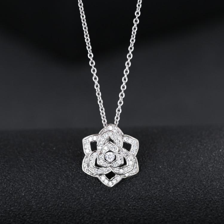 っ925 Sterling Argent Cristal Rose Fleur Colliers Collier De Mode