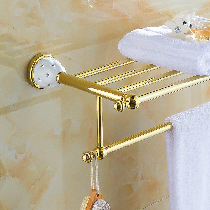 Europe Antique Towel Racks Luxury Little Crystal Towel Shelf Golden Solid Brass Finish Bath Shelves Bathroom Accesserries Fixed free shipping towel racks luxury bathroom accesserries golden finish bath towel shelves towel bar bath hardware db008k 1