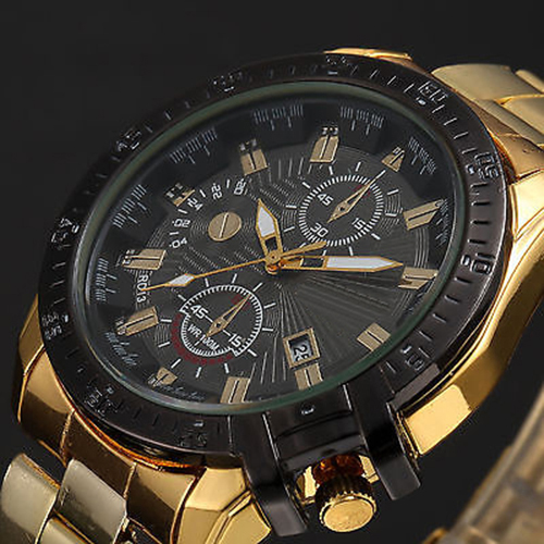 Luxury Men Golden Color Band Stainless Steel Date Quartz Analog Sport Wrist Watch feiwo 8090g alloys plating analog quartz wrist watch for men black golden silver page 5