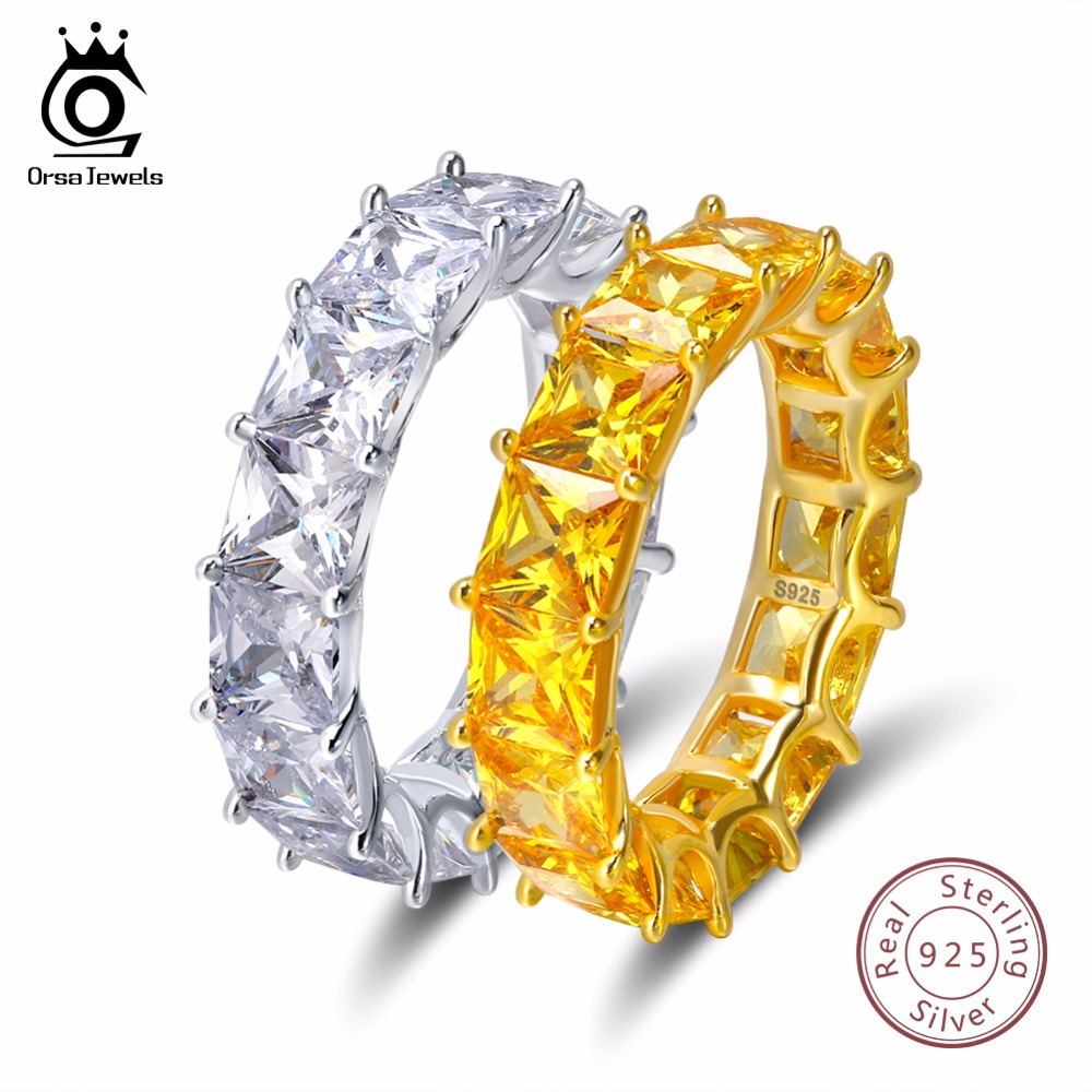 ORSA JOYAUX 100% Réel 925 Sterling Argent Anneaux Pour Femmes Hommes de Fiançailles et De Mariage Band AAA CZ Trendy Partie Bijoux SR48