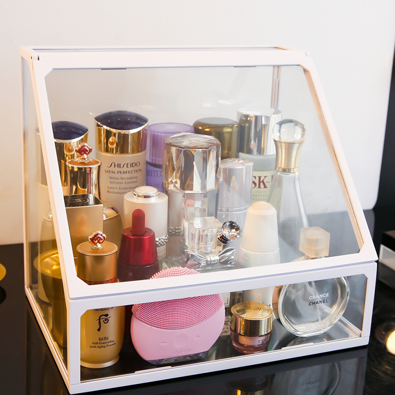 Glass bedroom makeup cosmetic makeup drawer box for girlfriend white glass makeup women cosmetics bottles storage box S6106