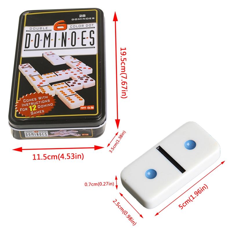 Children Game Wooden Dominoes Metal Box Set 28 Double 6 Travel